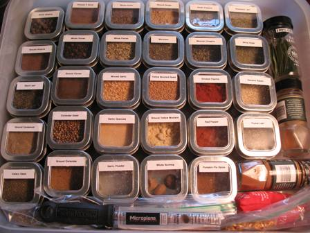 Spice tins in a box