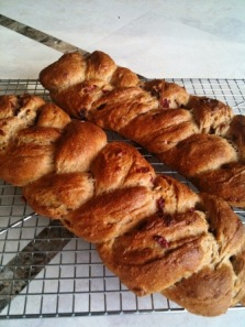 Homemade cranberry challa